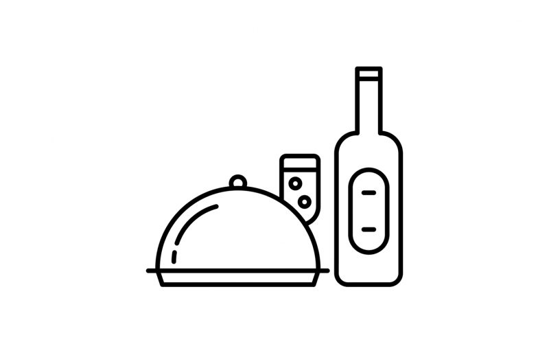 Illustration of a covered serving platter, wine glass and wine bottle
