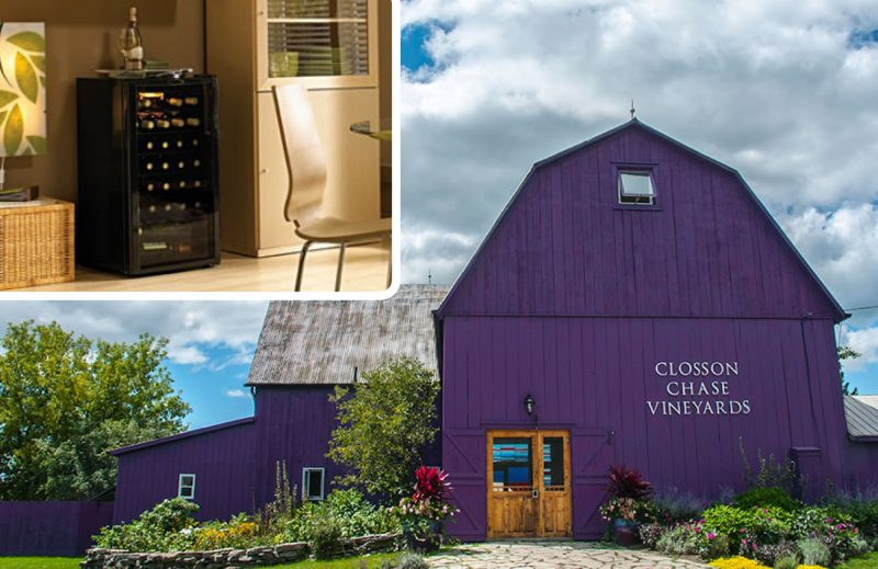 Photo of wine cooler in top left, photo of barn at winery in bottom right